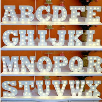 (A-Z+& Alphabet Letter LED Lights White Wooden Letters Stand Lamp Xmas Decor US)