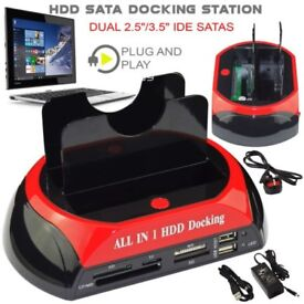 All in 1 HDD Docking Station Dual USB HUB IDE SATA Hard Drive Card Reader Dock