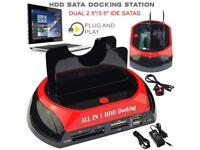 All in 1 HDD Docking Station Dual USB HUB IDE SATA Hard Drive Card Reader Dock