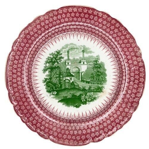 Enoch Wood & Sons Railway Transferware Plate Red Green Antique 1830 Rail Way EWS