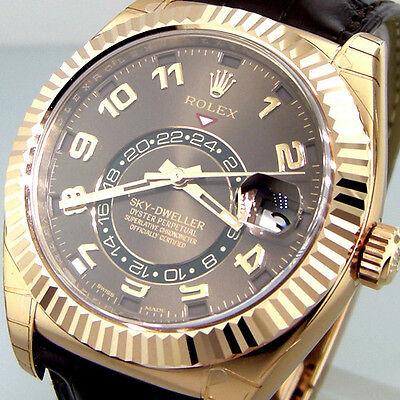 UNWORN ROLEX 326135 SKY DWELLER ROSE GOLD BROWN ARABIC DIAL 326135 BROWN STRAP