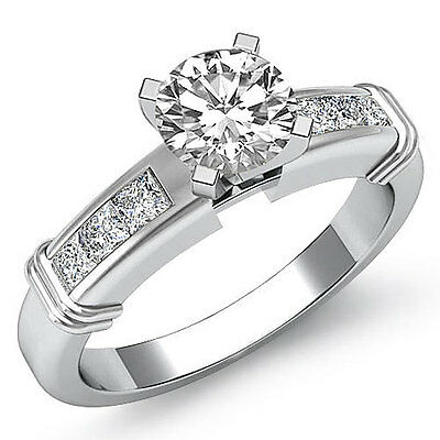 Channel Prong Set Round Diamond Engagement Ring GIA Certified I Color SI1 1.4 Ct