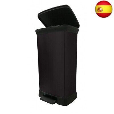 Usado, CURVER 187180 - Cubo de Basura con Pedal (Efecto Metal, 50 L), Color Negro segunda mano  Fortuna