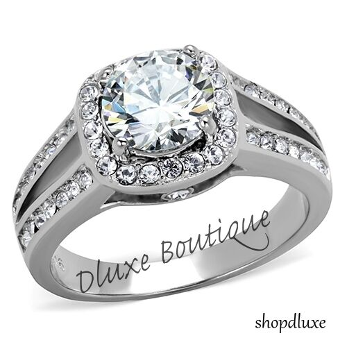2.95 Ct Halo Round Cut CZ Stainless Steel Engagement Ring Band Women
