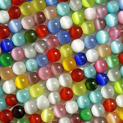 CATS EYE BEADS FIBER OPTIC MULTI COLOR BEAD STRAND MIX CHOOSE FROM 4MM 6MM -
