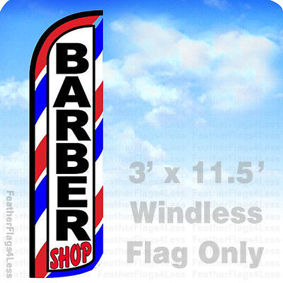 BARBER SHOP - Windless Swooper Flag Feather Banner Sign 3x11.5' - - Flag Banner