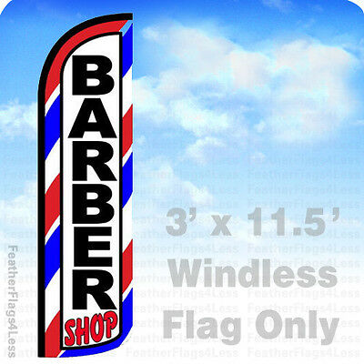 BARBER SHOP - Windless Swooper Flag Feather Banner Sign 3x11.5' - bq](Banner Flag)