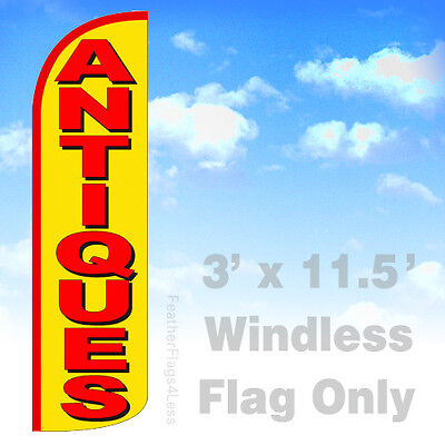 Antiques - Windless Swooper Flag 3x11.5 Feather Sign Flag - Yq