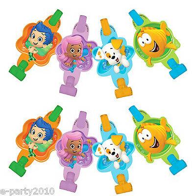 BUBBLE GUPPIES BLOWOUTS (8) ~ Birthday Party Supplies Favors Noisemakers Nick Jr - Bubble Guppies Favors