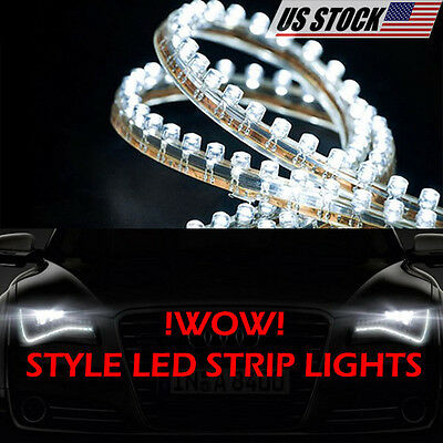 Volvo v60 day lightebay 1 2x white headlight upgrade led strips day time driving lights parts for car auto mozeypictures Images