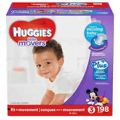 Huggies Little Movers Plus Diapers Size 3 198 Ct SEALED!!!