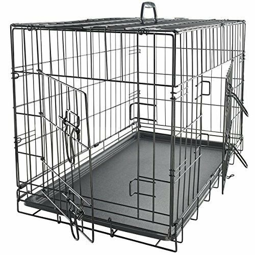 "24"" Dog Crate Folding Wire Metal Cage Kennel With Removable Tray Pan"