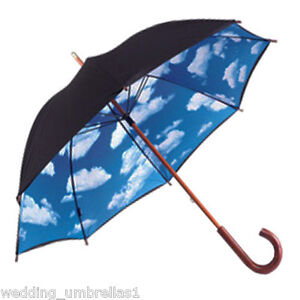 Big Blue Sky Designer Rain Umbrella UPF 50+