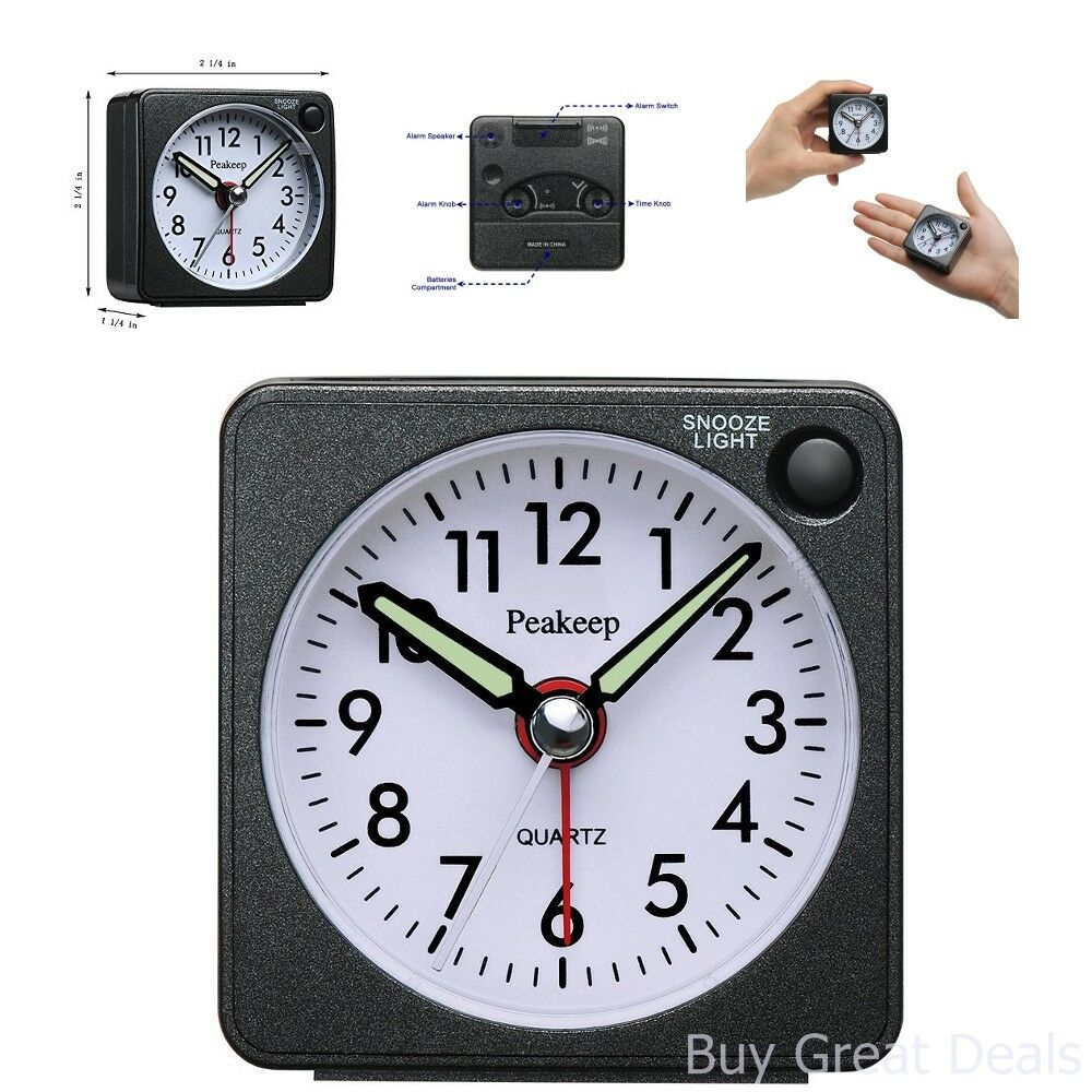 Ultra Small Peakeep Battery Travel Alarm Clock with Snooze Light Silent