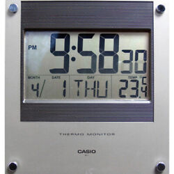 Casio Thermo Monitor Auto Calendar Digital Wall/Desk Clock (Silver) ID11-1