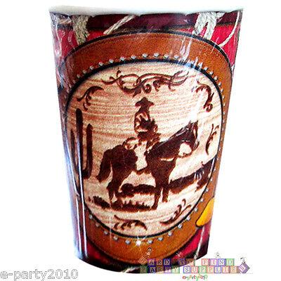 WESTERN Giddy Up Cowboy 9oz PAPER CUPS (8) ~ Birthday Party Supplies Beverage](Cowboy Birthday Supplies)