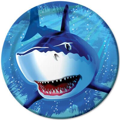 SHARK SPLASH LARGE PAPER PLATES (8) ~ Birthday Party Supplies Dinner Luncheon](Shark Paper Plates)