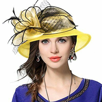 Derby Dress Church Cloche Hat Bow Bucket Wedding Bowler Hats Two Tone - Yellow Derby Hat