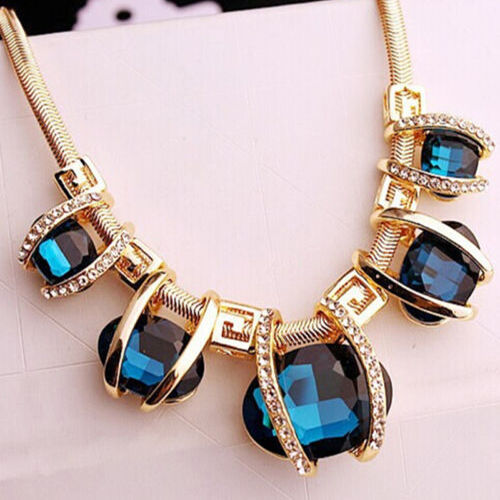 Fashion Charm Jewelry Chain Pendant Crystal Choker Chunky Bib Necklace Blue