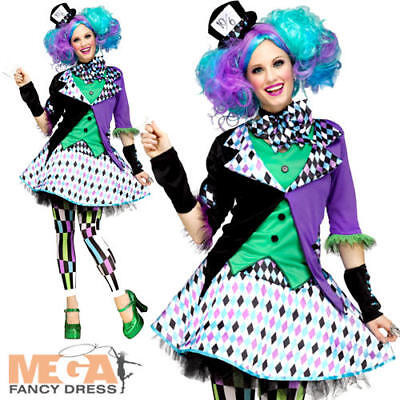 Lady Mad Hatter Costume (Mad Hatter Ladies Fancy Dress Tea Party Womens Book Character Adults Costume)