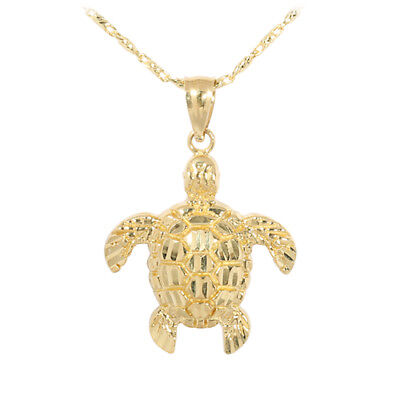 14K Yellow Gold Sea Turtle (Honu) Pendant (S) Hawaiian Jewelry GP3158 ()