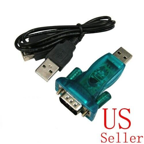 Blue USB to RS232 serial DB9 Adapter USB Cable for XP Vista Win7 Male Screw #B