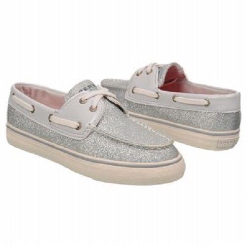 White Glitter Boat Shoes