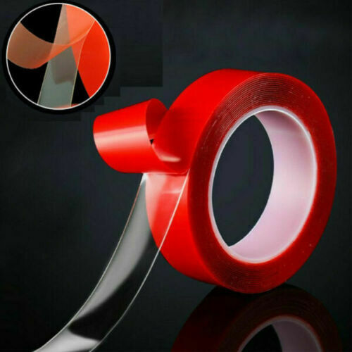 MAGIC Double sided Grip Tape Washable Traceless Adhesive Tape Nano Invisible Gel Red1mm*2cm*3M