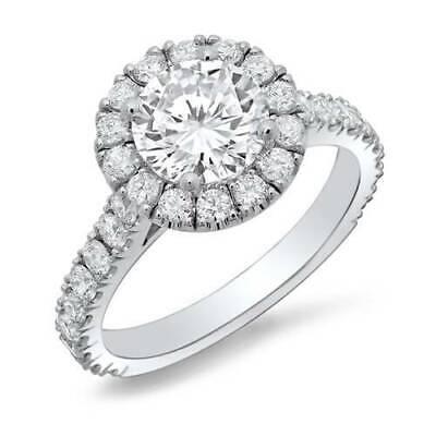 1.90 Ct Halo Round Cut U-Setting Diamond Engagement Ring H Color VS2 GIA 3x Ex 4