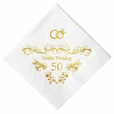 Crisky 50th Wedding Anniversaray Napkins Golden Cocktail Beverage Napkins 50t...
