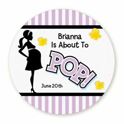 About To Pop Purple - Round Personalized Baby Shower Sticker Labels - 6 sizes