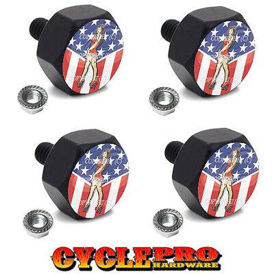4 Black Billet Hex License Plate Frame Tag Bolts GIRL USA FLAG - 036