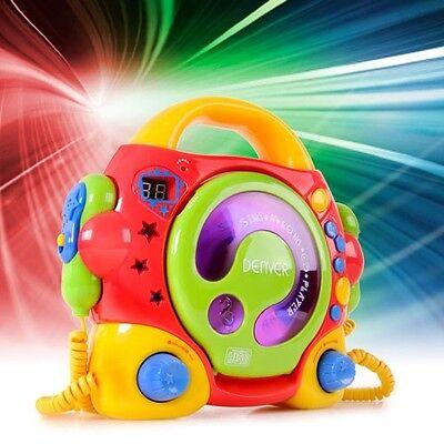 Karaoke Musik Anlage Kinder Jungen Mädchen portabler CD Player + 2 Mikrofone