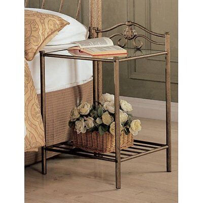 (Small Accent Table Side End Antique Gold/Bronze Furniture Glass Metal Nightstand)