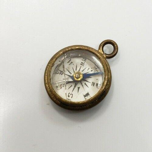 Antique Victorian Brass? Small Compass Watch Fob