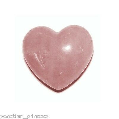 - Genuine Hand Carved Natural Rose Quartz Heart Shaped Stone 30mm Crystal Healing