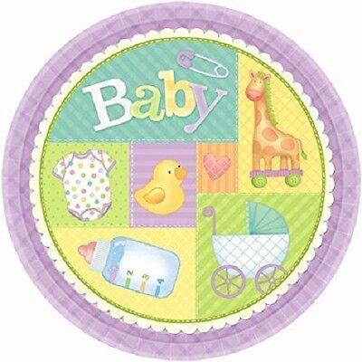 - Pastel Patchwork Baby Shower 7in Plates Duck Giraffe Onsie Stroller Design