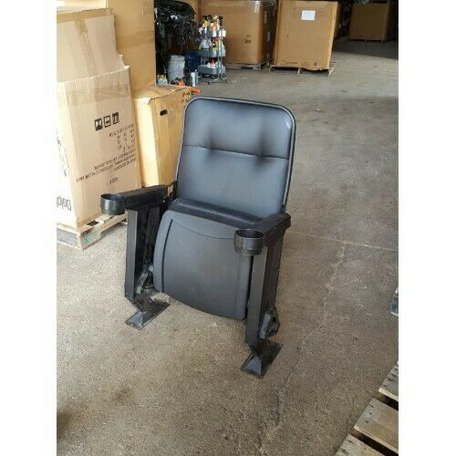 Lot of 40 Used Reupholstered Movie Theater Chairs in Black Pleather