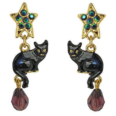 NEW KIRKS FOLLY SPIRIT OF HALLOWEEN BLACK CAT AND STAR PIERCED EARRINGS GOLDTONE