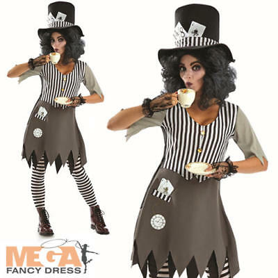 Bad Hatter Halloween Costume (Dark Bad Mad Hatter Ladies Fancy Dress Gothic Fairytale Adults Halloween)