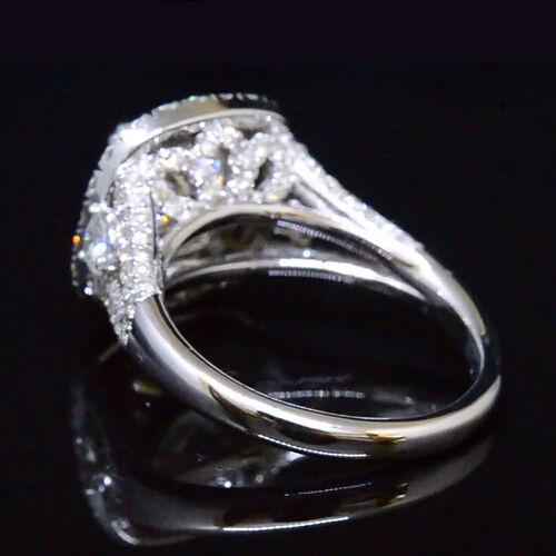 2.80 Ct Cushion Cut Diamond Dual Halo Split Shank Engagement Ring G,VS1 GIA 14K  2