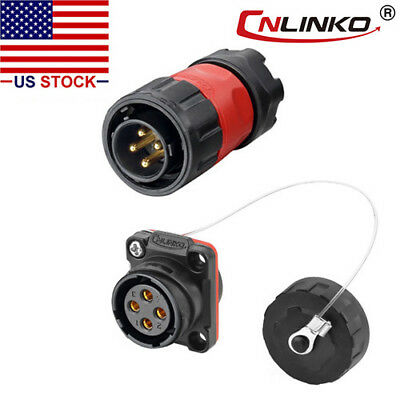 4 Pin Power Connector Male Plug Female Socket Outdoor Waterproof Ip67 Signal