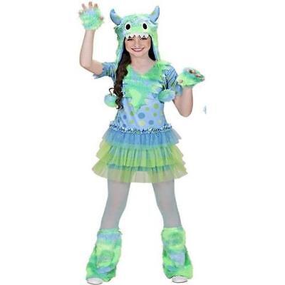 SPACE MONSTER Mädchen Kostüm grün lila Kinder Karneval Gr. 128, 140, - Grüne Monster Mädchen Kostüm