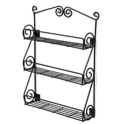 New Spice Rack Organizer Kitchen Wall Shelf Storage Holder Jar Black Mount Home