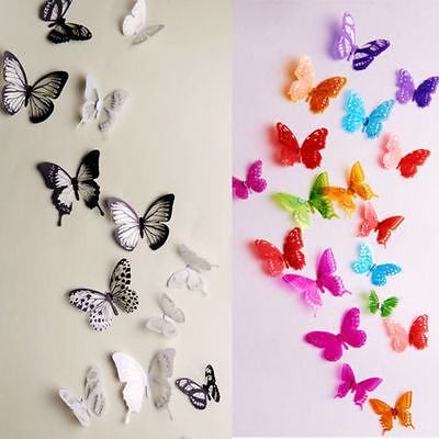 Home Decoration - 18pcs 3D Butterfly Decor Colorful Wall Stickers Decals Crystal Hot Sale New R