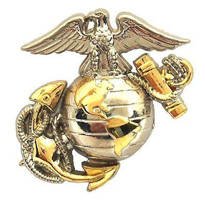 "US Marine Corps E2 Left Cap Gold Silver Emblem USMC Lapel / Hat Pin 1-3/4"""