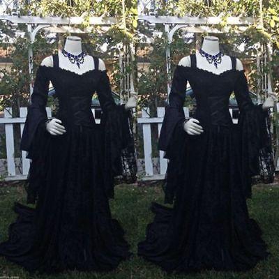 Long Sleeve Black Lace Gothic Wedding Dresses Halloween Bridal Gowns Size 2-26+](Halloween Wedding Dresses)