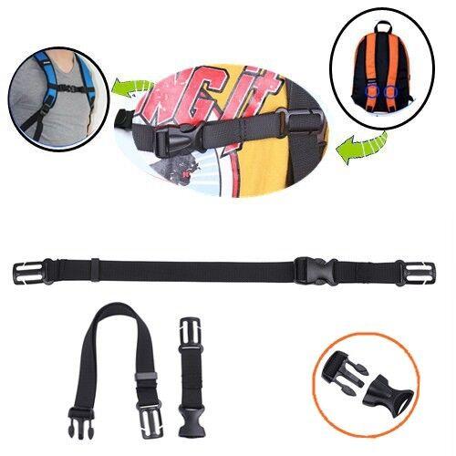USA/_Adjustable Backpack Sack Bag Webbing Sternum Buckle Clip Strap Chest Black