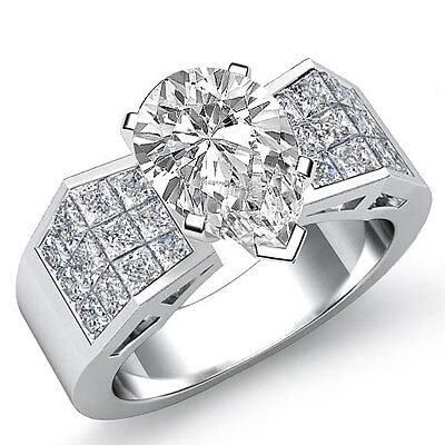 Invisible Set Pear Diamond Engagement Filigree Women Ring GIA G Color SI1 1.84Ct