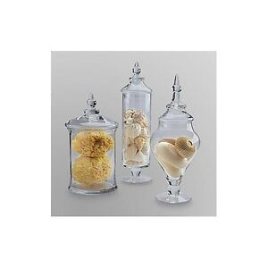 Glass Apothecary Jars 3 Piece Large W/ Lids Beautiful Storage Containers Candy